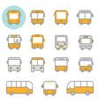 bus flat line icon set vector image vector image