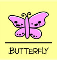 butterfly hand-drawn style vector image vector image