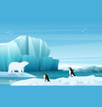 cartoon nature winter arctic landscape with ice vector image