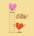 cartoon two hearts adorable i love so much vector image