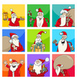 christmas design with santa characters vector image vector image