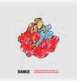 couple dancing tango outline dance vector image vector image