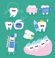 cute tooth and dental floss flat design vector image