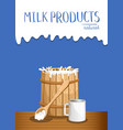dairy products banner with milk wooden barrel vector image vector image
