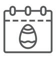 easter calendar line icon date and easter easter vector image vector image