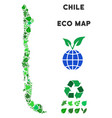 eco green mosaic chile map vector image