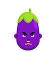 eggplant angry emotion avatar purple vegetable vector image