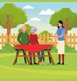 family barbecue picnic vector image