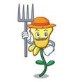 farmer daffodil flower character cartoon vector image
