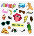 Fashion patch badges Pop art set Stickers pins vector image vector image