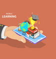 flat isometric concept of mobile education vector image vector image