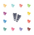 flippers flat icons set vector image