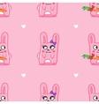 funny cartoon bunnies St Valentine Day seamless vector image
