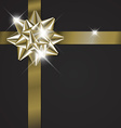 Golden bow on a ribbon with black background vector image vector image