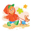 icon small boy walks with his puppy vector image