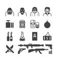 Icons set terrorist design vector image
