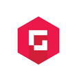 initial letter g logo red hexagonal symbol vector image vector image