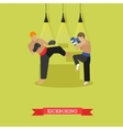Kickboxers fighting flat design vector image