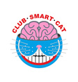 Logo cat Club smart Cat Animal and brain Emlema vector image vector image