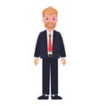 man in black suit white shirt and red tie beard vector image vector image