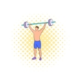 Man with barbell icon comics style vector image vector image