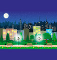 modern city view in night cityscape and park vector image vector image
