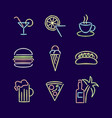 neon lights signs line icon set vector image