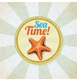 Ocean starfish on the sand retro background vector image vector image