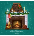 Postcard with Christmas fireplace burning vector image vector image