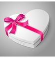 realistic blank white heart shape box with pink vector image
