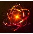 Red shining cosmic atom model vector image vector image