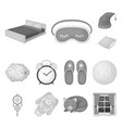 rest and sleep monochrome icons in set collection vector image