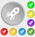 Rocket icon sign Symbol on eight flat buttons vector image