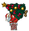 santa claus with a christmas tree climbs the vector image vector image