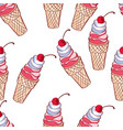 seamless pattern with ice cream ice cream vector image vector image