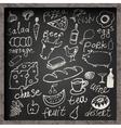 set hand-drawn food on chalkboard vector image