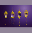 set lamps with stars hanging decoration vector image