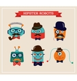 Set of cute retro hipster robots heads vector image vector image