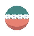 Teeth dental mouth with care braces vector image