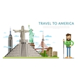 Travel to America banner with famous attractions vector image