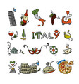travel to italy icons set for your design vector image vector image