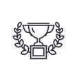trophy with wreath line icon sign vector image