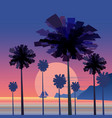 tropical sunrise at seashore sea landscape with vector image vector image