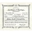 Vintage marriage certificate vector image