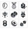 weight lifting and arm wrestling icon set
