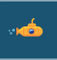 yellow submarine underwater in sea water vector image vector image