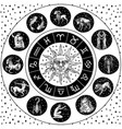 zodiac wheel astrology horoscope with circle sun vector image