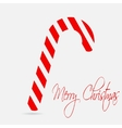 Christmas cane Merry Christmas lettering Flat vector image