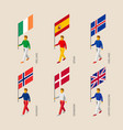 3d people with flags of europe vector image