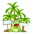 A happy monster with empty signboards vector image vector image